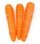 Three carrots isolated on white