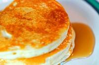 Macro of pancakes with honey