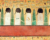 Relief depicting black-headed gods in the Underworld, from the Tomb of Seti I (r.1294-1279 BC) New Kingdom (painted limestone), Egyptian 19th Dynasty ...