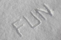 written the word fun in the snow