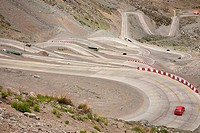 Curvy road between Chile and Argentina - crossing the Andes.