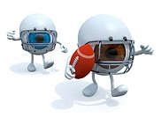 two big eyes with arms, legs, helmet and rugby ball, 3d illustration.