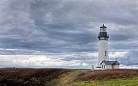 The picturesque Yaquina Bay Lighthouse in Newport, Oregon.