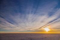 Bolivia, Salar de Uyuni Salt Flat at dusk.