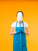 cleaning woman armed and ready for housework