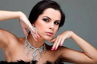 portrait elegant sexual woman in fashion style