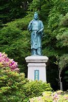 Japan, Hokuriku Region, Toyama Prefecture, Takaoka, Statue of Yakamochi Otomono in Nijozan Park.