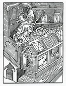 Here begynneth the foles and first inprofytable bokes, illustration from Alexander Barclay's English translation of 'The Ship of Fools', from an editi...