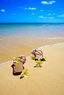 sandals and plumeria blossoms on a beach
