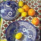 Fruit and Blue and White Ceramic Bowls, Folly, Marc (b.1965) / Private Collection / Bridgeman Images