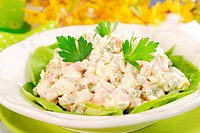 vegetables salad with ham and mayonnaise