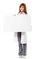 Asian doctor woman holding blank board