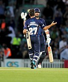 2015 Natwest T20 Blast Surrey CCC v Essex Eagles Jun 5th. 05.06.2015. London, England. Ryan ten Doeschate and James Foster celebrate victory. Natwest ...
