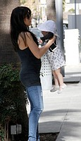 Alec Baldwin enjoying a family day out with his expectant wife Hilaria and baby daughter Carmen stopping for lunch at M Cafe in Beverly Hills Featurin...