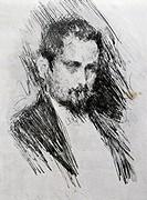Portrait of Luigi Illica (Castell'Arquato, 1857-Castell, 1919), Italian playwright and librettist, drawing by Paolo Troubetzkoy (1866-1938).  Leghorn,...