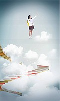 a student standing on top of clouds