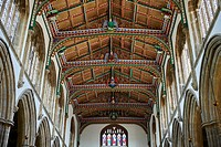 15th century Gothic wooden roof, restored in 1963, St Cuthbert's Church, Wells, Somerset, England, United Kingdom