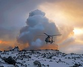 Helicopter by the Holuhraun Fissure Eruption, Bardarbunga Volcano, Iceland. August 29, 2014 a fissure eruption started in Holuhraun Picture Date: Feb....