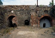 Ruins of a building in the copper mine of Sao Domingos, active in the 19th century, Alentejo, Portugal.
