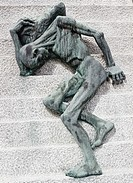 Powerful sculpture of a skeletal figure representing the Jews murdered in Mauthausen Gusen concentration camp near Linz in Austria. Pere Lachaise Ceme...