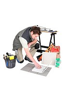 Tile cutter with laptop