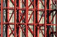 Red steel beams