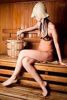 Pretty girl in sauna