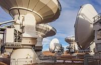 ALMA observatory, Antennas in plain of Chajnantor, 5000 meters of altitude,Array Operations Site (AOS), Atacama desert. Region de Antofagasta. Chile.