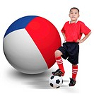 Child soccer player with France ball