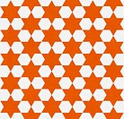 Orange and White Hexagon Patterned Textured Fabric Background
