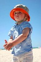 Blonde boy on beach