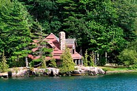 Large old cabin on a lake