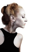 beautiful young blond woman with shiny silver makeup