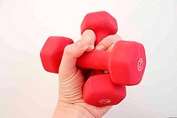 hand holding weights