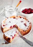 Homemade cherry creamcheese pie