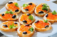 caviar and olive on bread