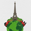 Eiffet travel concept with stitch style on fabric background