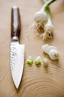 Spring onions and a Japanese knife