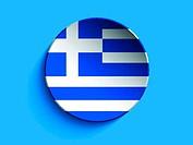 Flag Paper Circle Shadow Button Greece