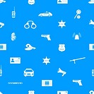 police icons blue and white seamless pattern eps10