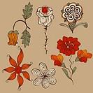 Vector Floral Bizarre Design Elements