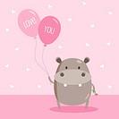 Hippo Holding Love Balloon