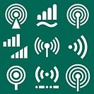 Radio signal icons set
