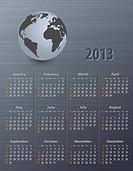 Calendar for 2013 with globe