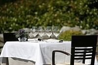 Restaurant table with glasses and dishes prepared