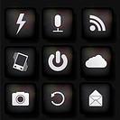 vector web app icon set on black background. Eps10