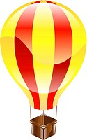 Shiny hot air balloon icon illustration