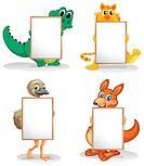 Wild animals with empty bulletin boards