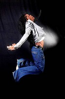 jumping afro-american dancer
