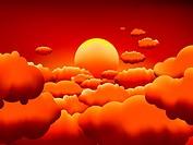 Golden sunset clouds background. EPS8